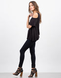 Side View of Cold Shoulder Knit Top