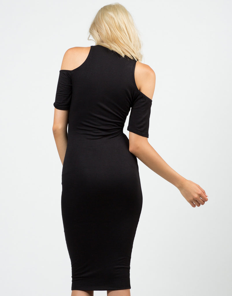 Back View of Cold Shoulder Midi Dress