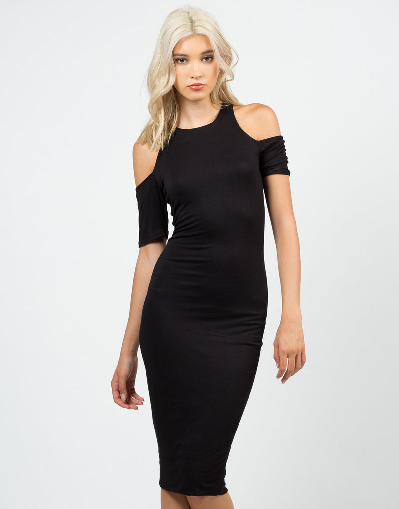 Front View of Cold Shoulder Midi Dress