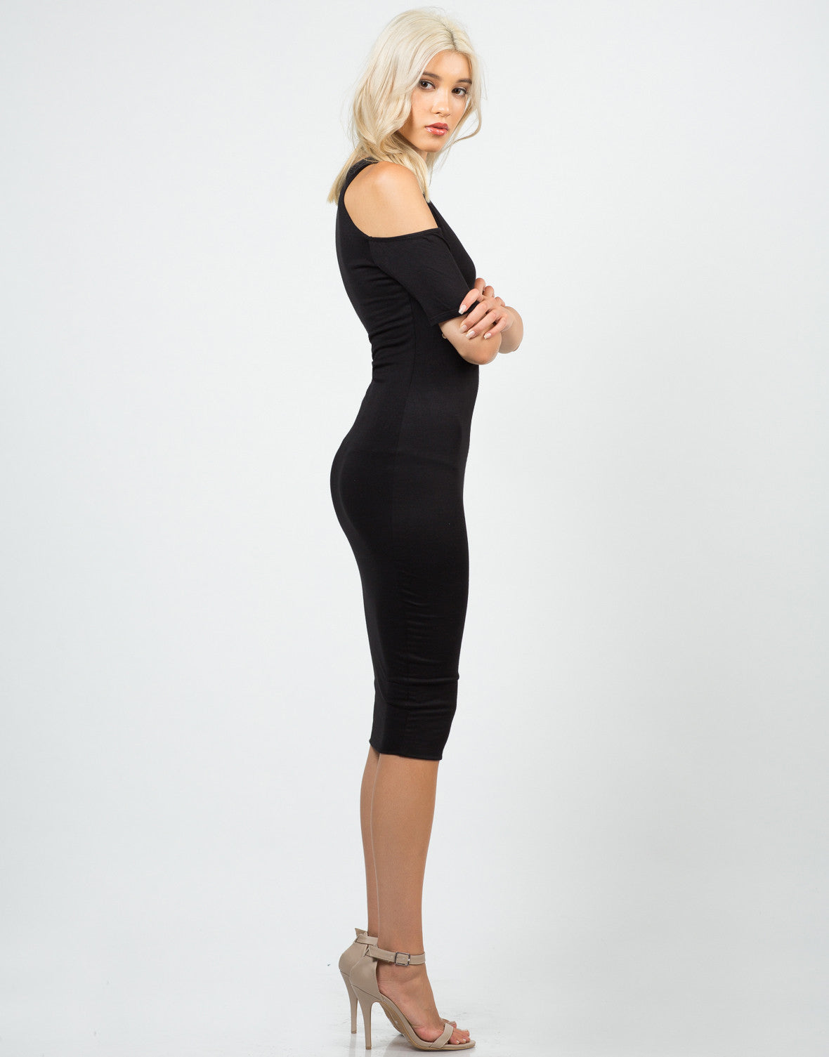 Side View of Cold Shoulder Midi Dress