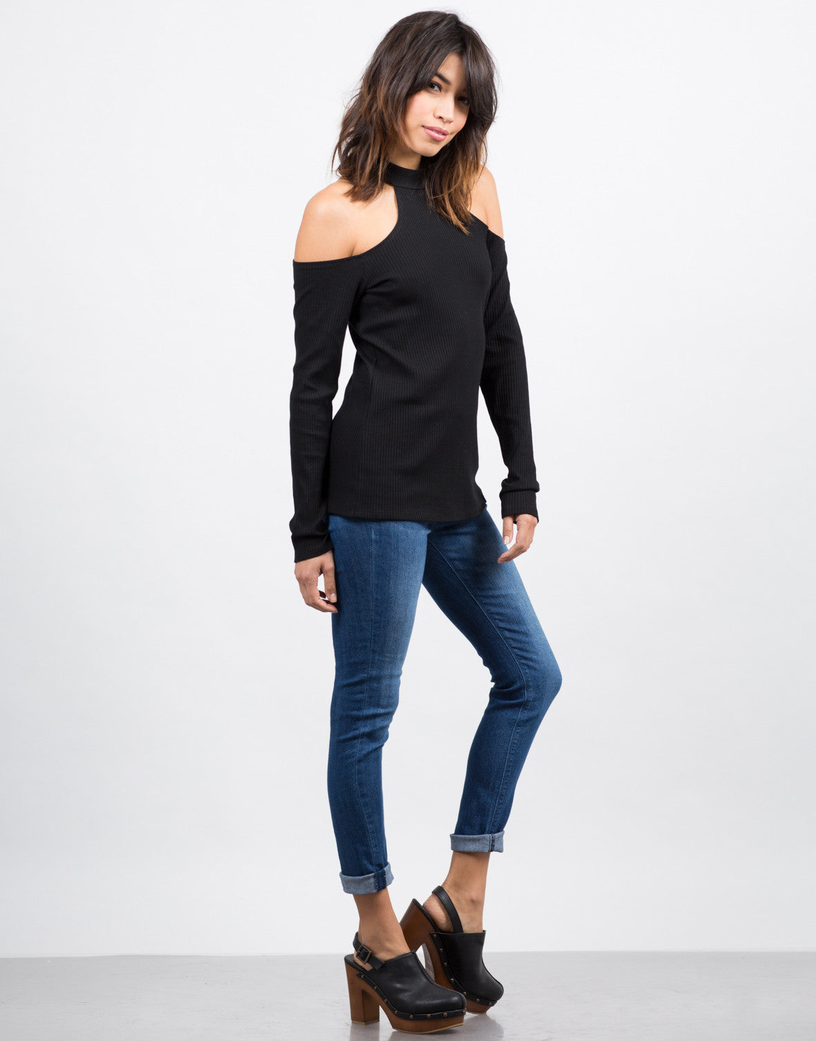 Side View of Cold Shoulder Ribbed Top