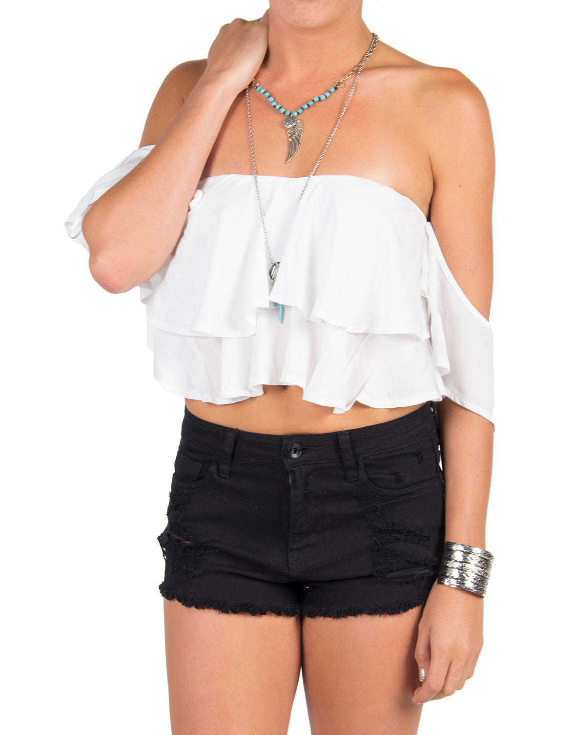 Cold Shoulder Ruffle Crop Top - White
