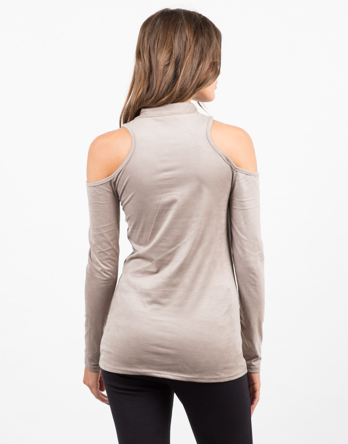 Back View of Cold Shoulder Suede Top