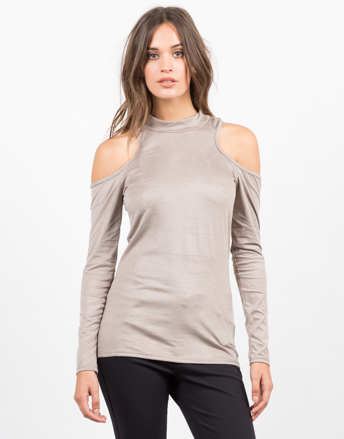 Front View of Cold Shoulder Suede Top