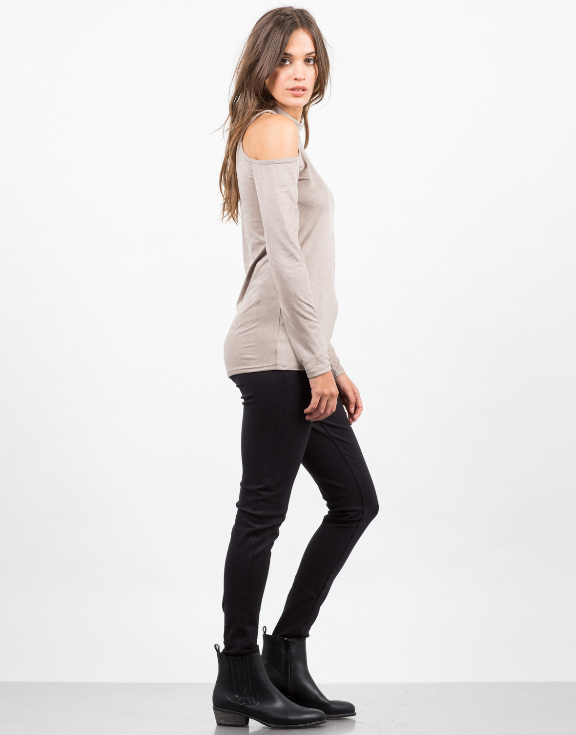 Side View of Cold Shoulder Suede Top