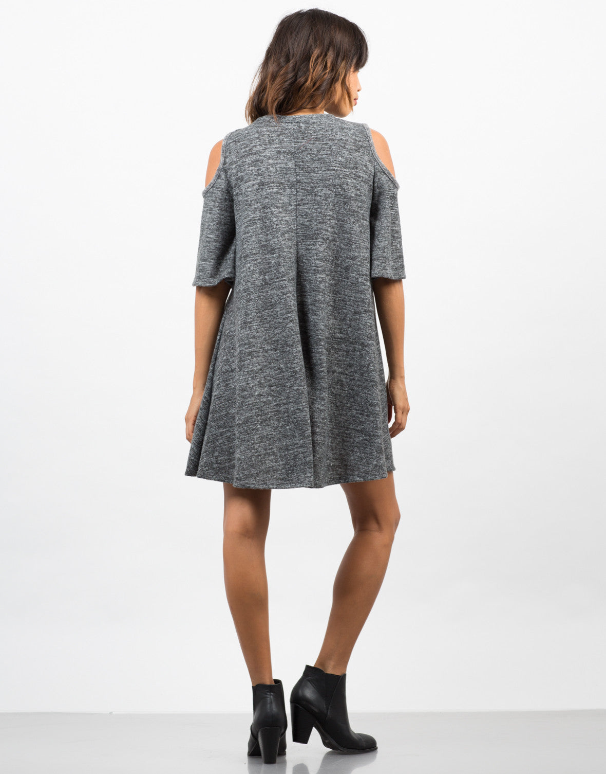 Back View of Cold Shoulder Sweater Dress