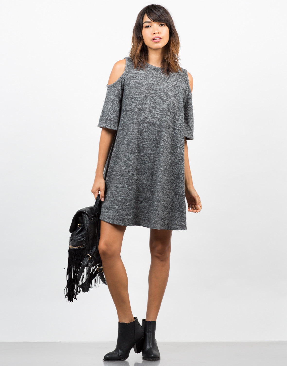 Front View of Cold Shoulder Sweater Dress