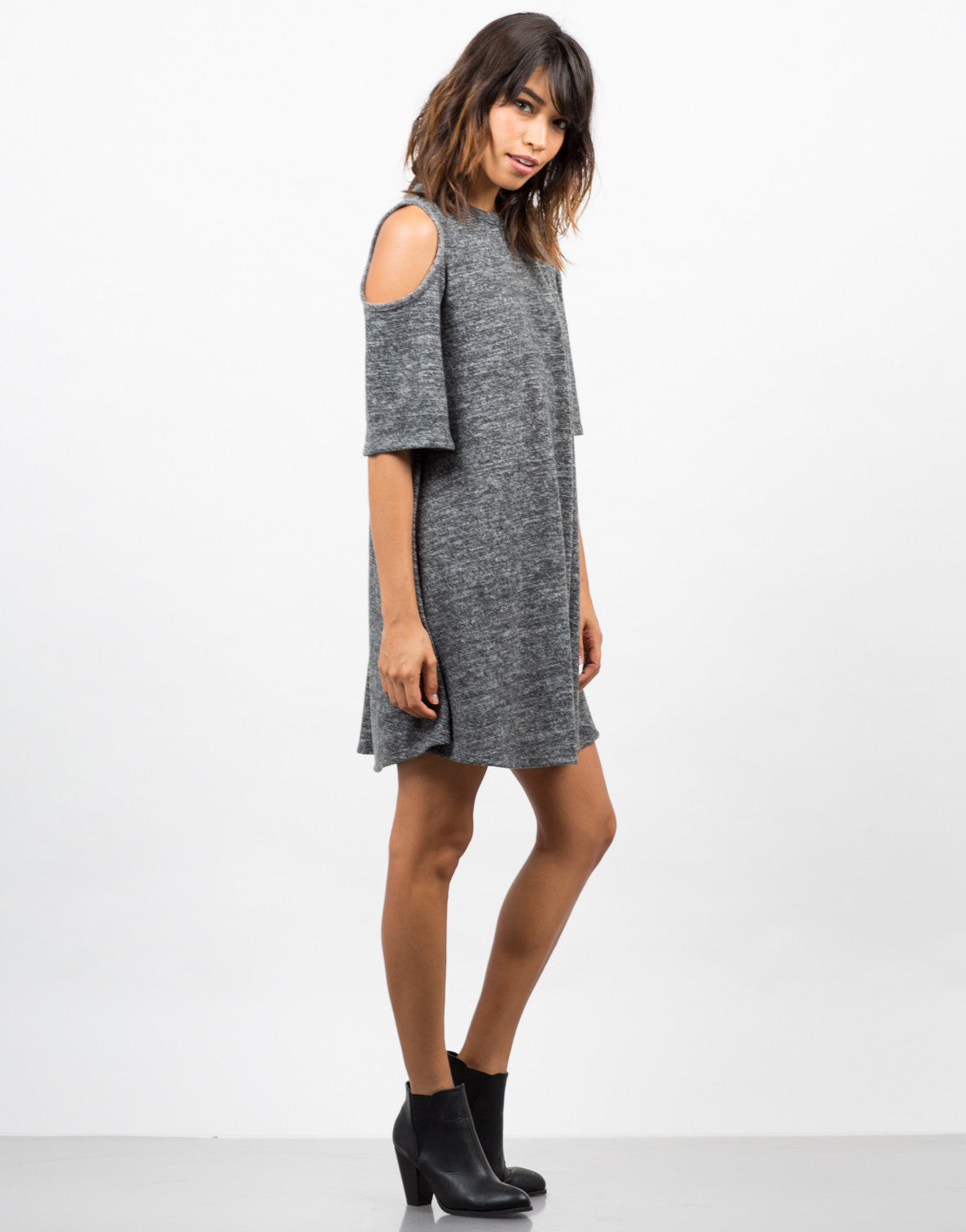 Side View of Cold Shoulder Sweater Dress