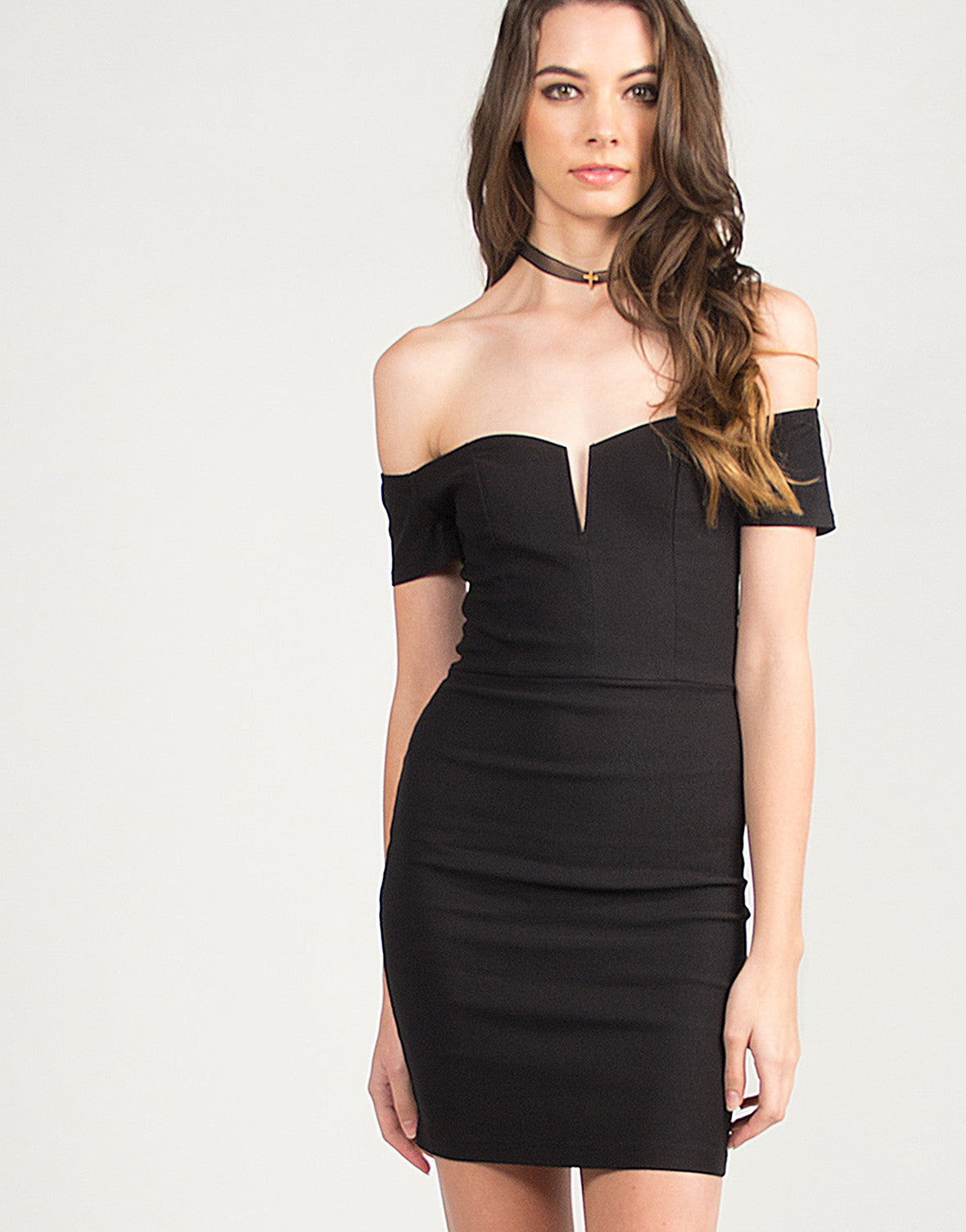 Cold Shoulder V Slit Cocktail Dress