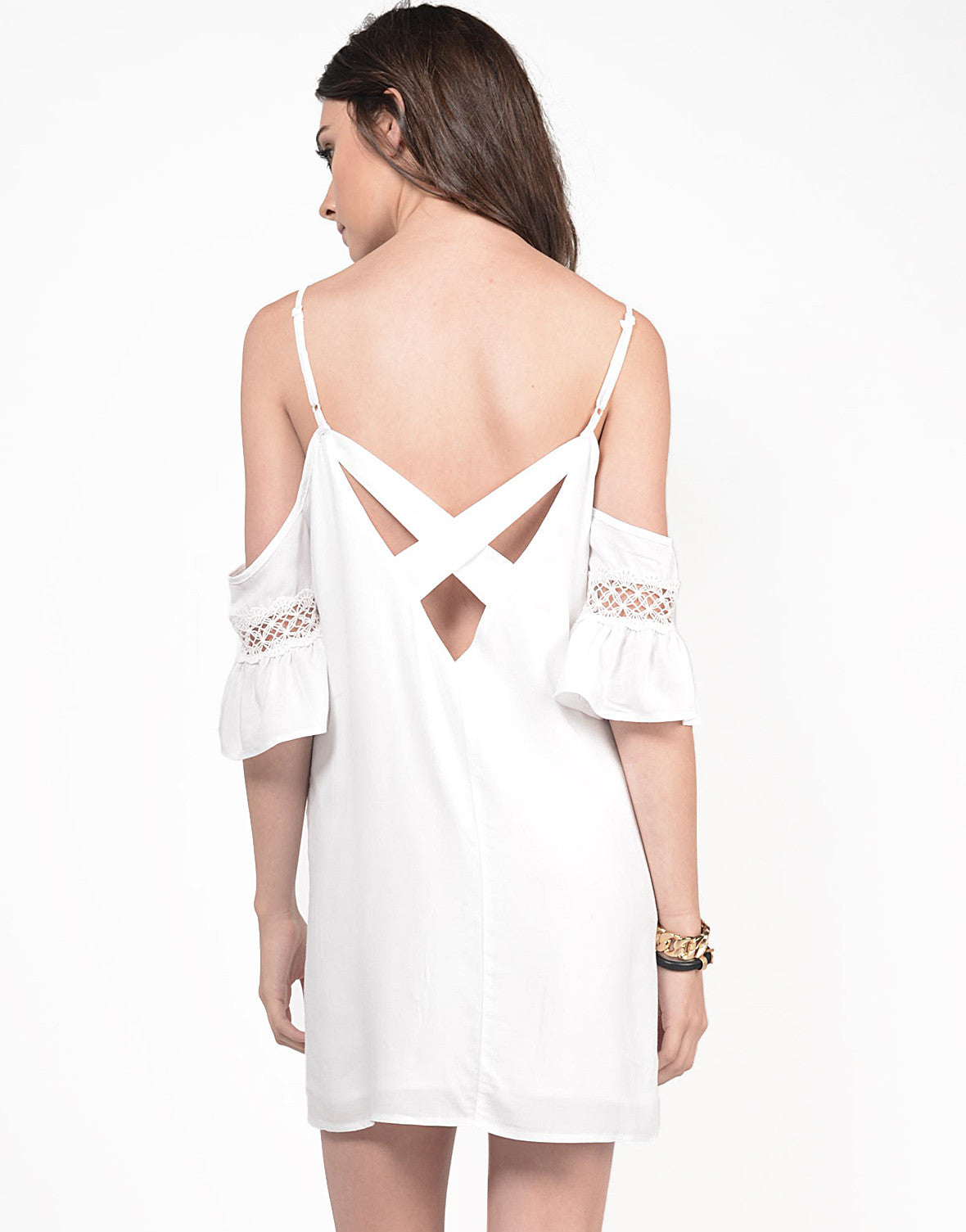 Back View of Cold Shoulder X Dress