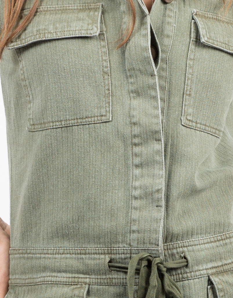 Detail of Collared Button Down Denim Romper