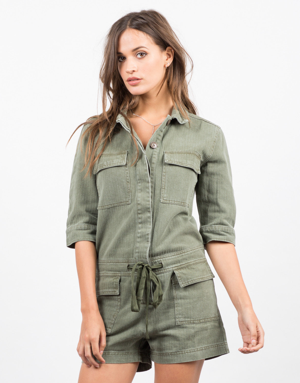 Front View of Collared Button Down Denim Romper