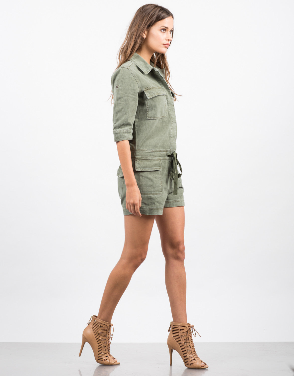 Side View of Collared Button Down Denim Romper