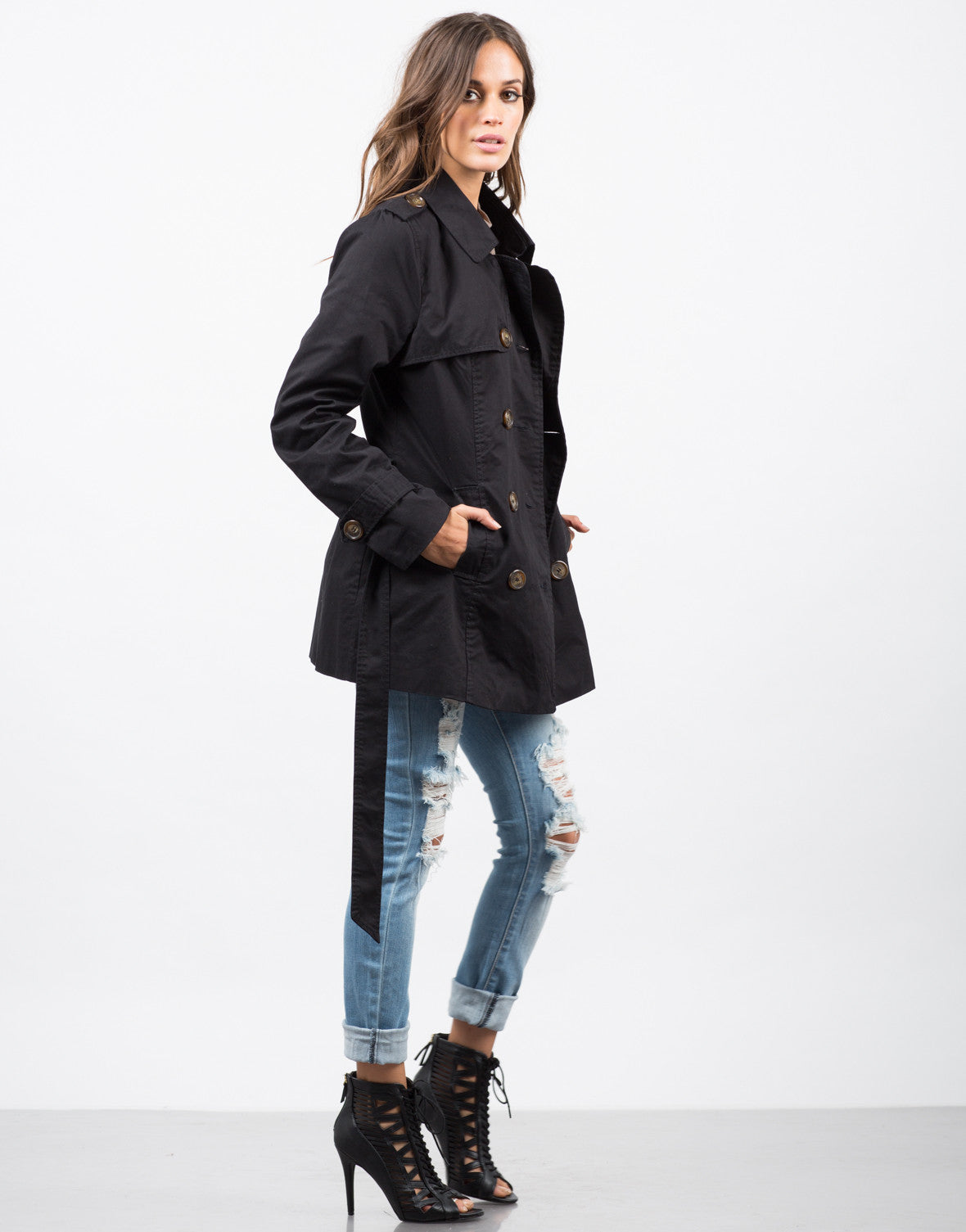 Side View of Collared Double Breasted Trench Coat