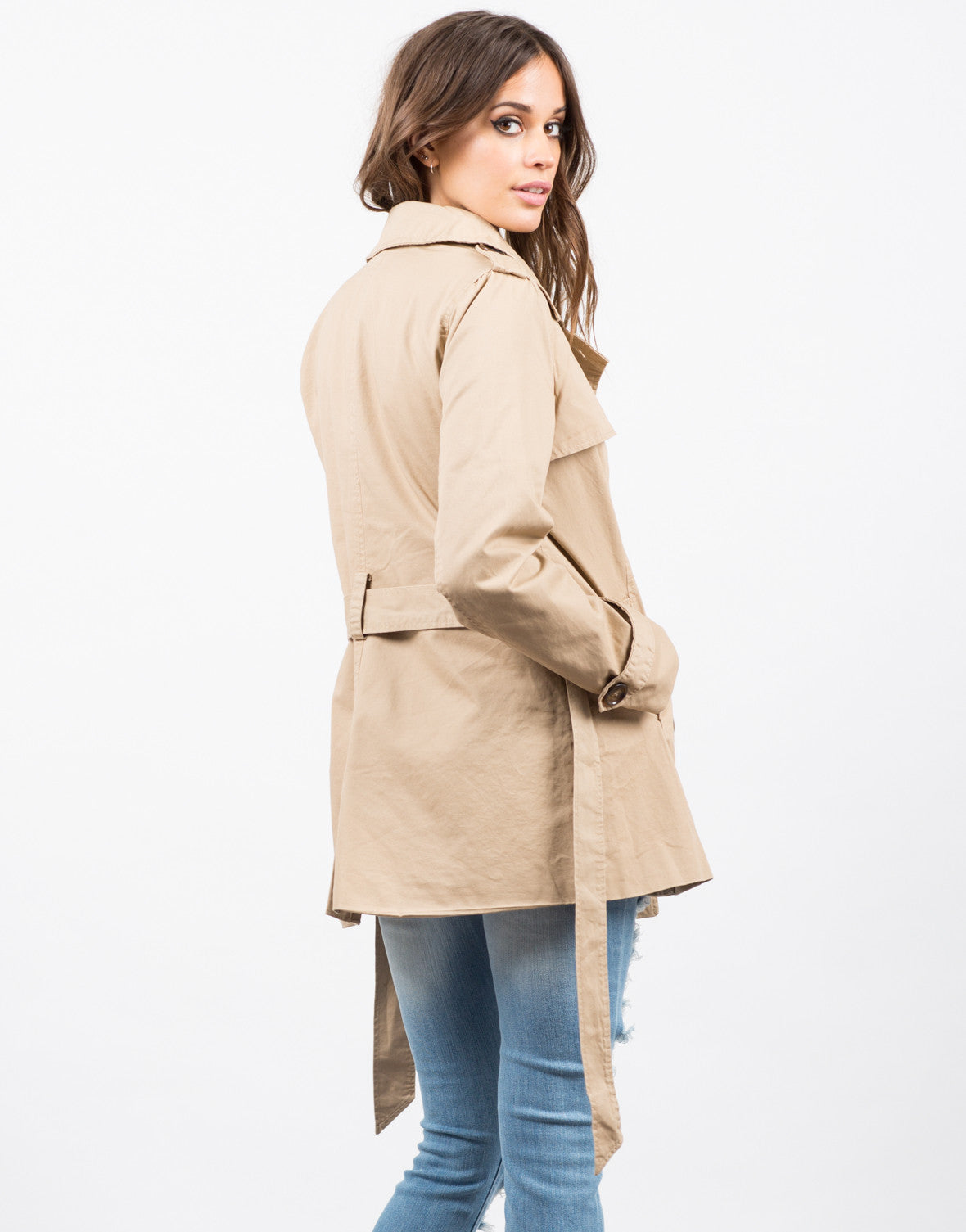 Back View of Collared Double Breasted Trench Coat