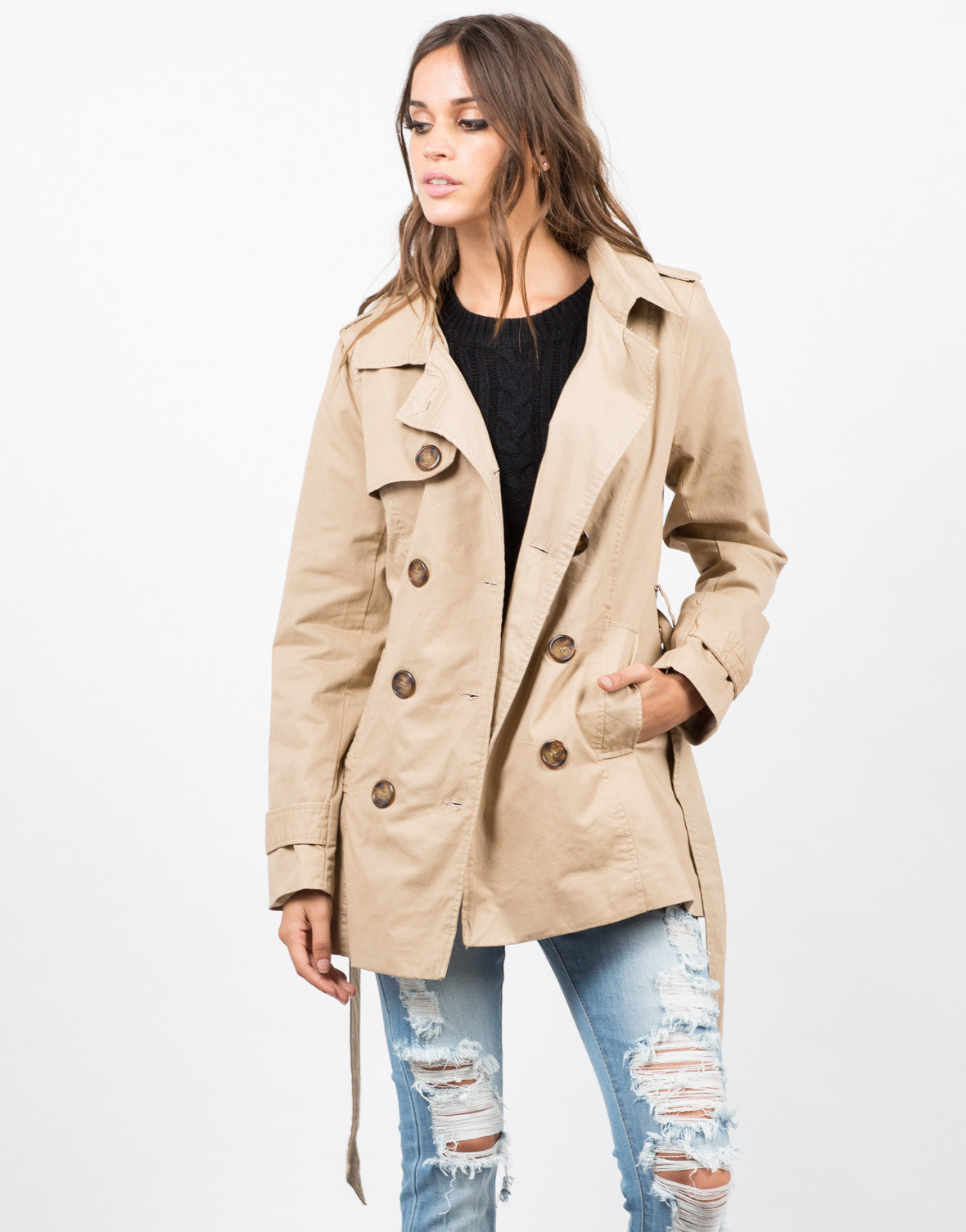 Front View of Collared Double Breasted Trench Coat