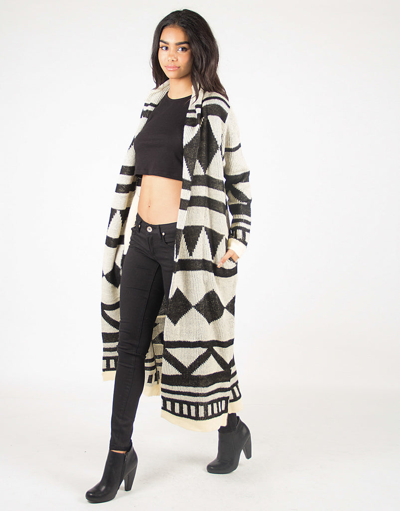 Collared Printed Knit Open Cardigan