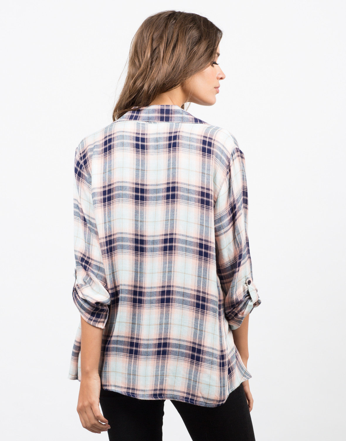 Back View of Collar Plaid Drapey Cardigan