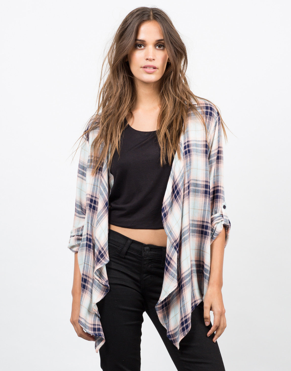 Front View of Collar Plaid Drapey Cardigan