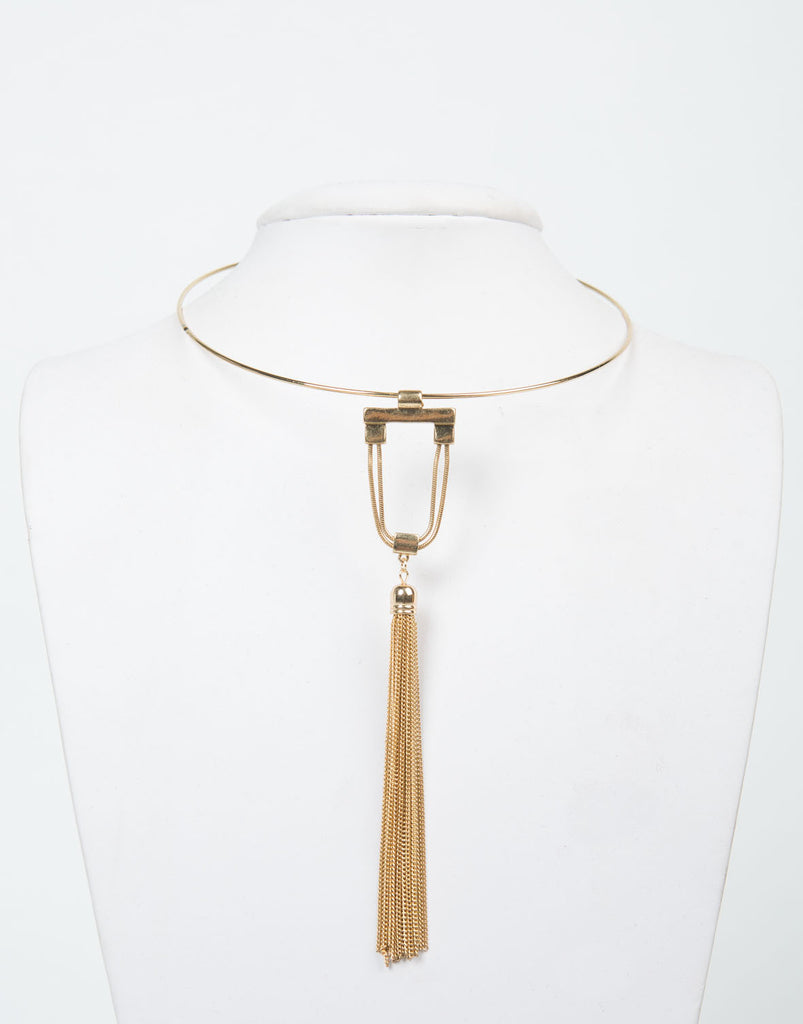 Front View of Collar Tassel Necklace