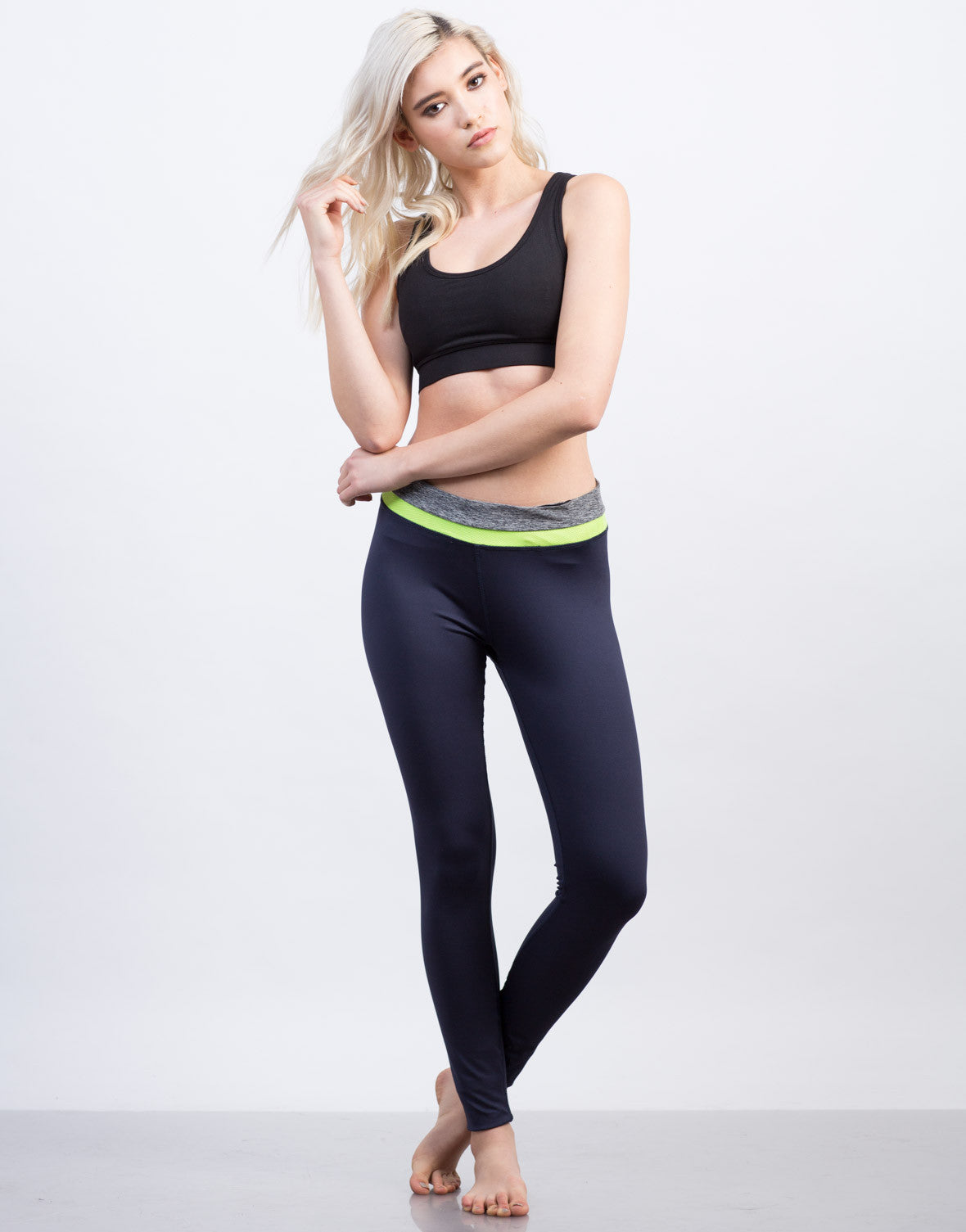 Front View of Color Block Leggings