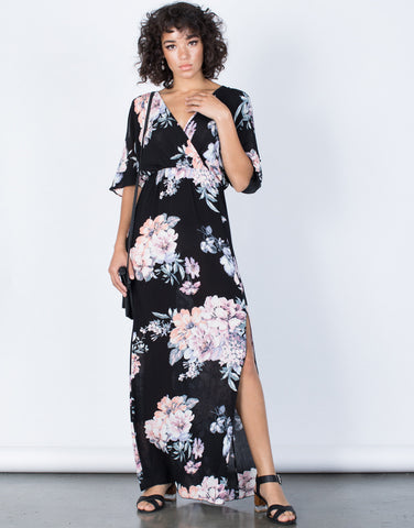 Black Color Me Floral Dress - Front View
