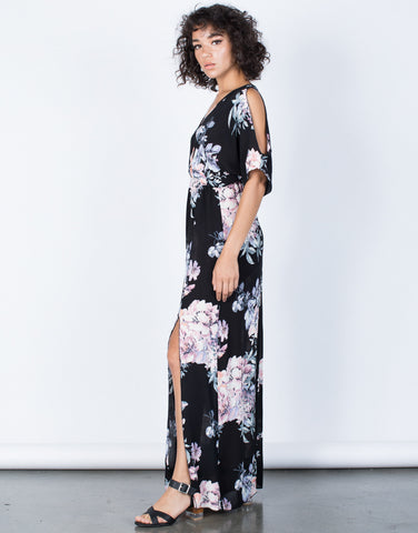 Black Color Me Floral Dress - Side View