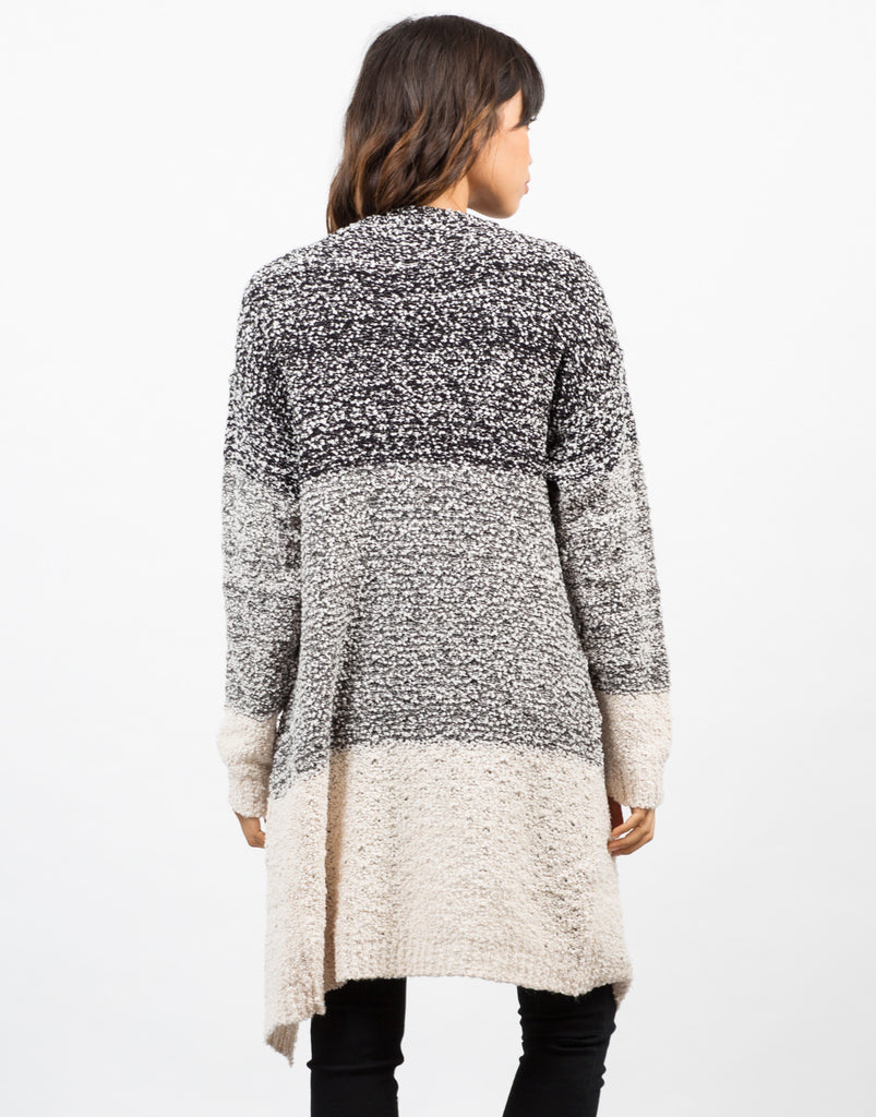 Back View of Colorblock Boule Cardigan