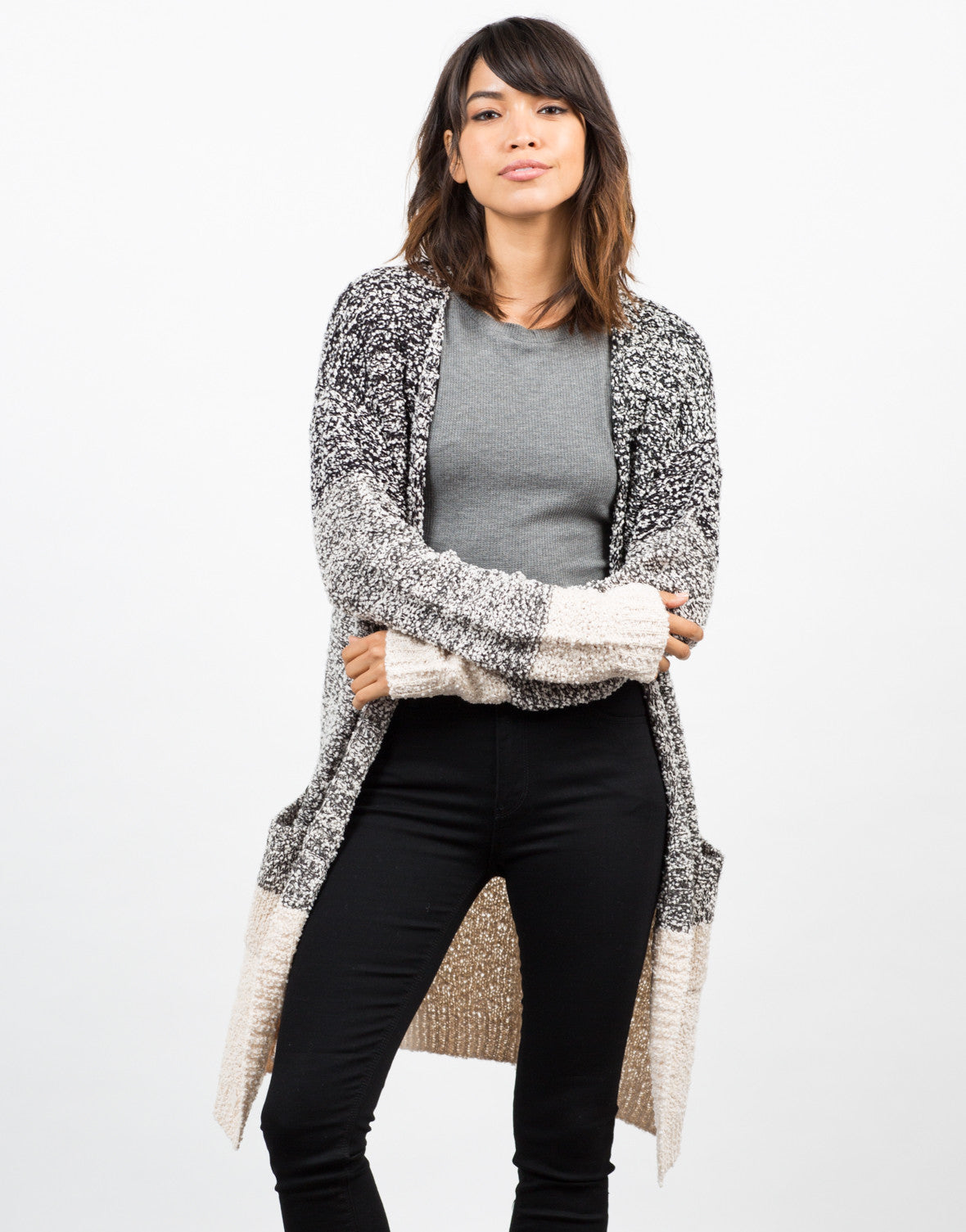 Front View of Colorblock Boule Cardigan