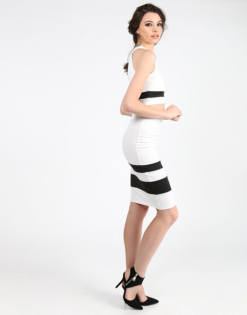 Color Block Midi Skirt Bottoms -2020AVE