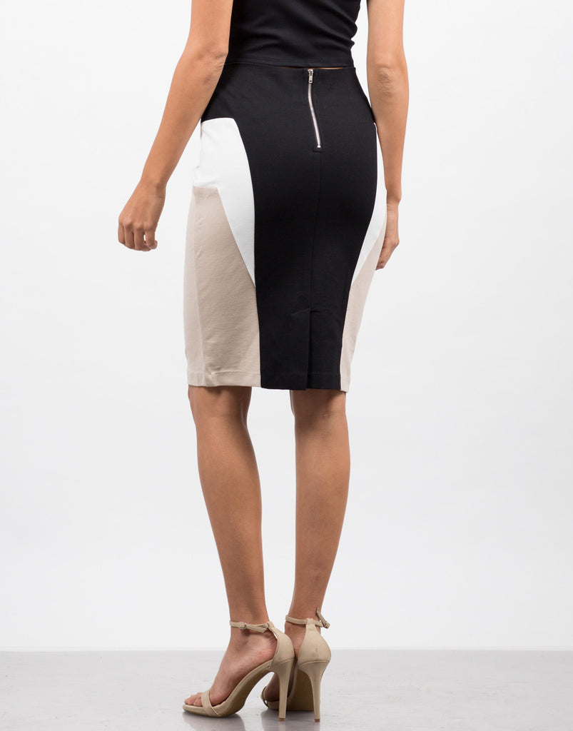 Back View of Color Block Pencil Skirt