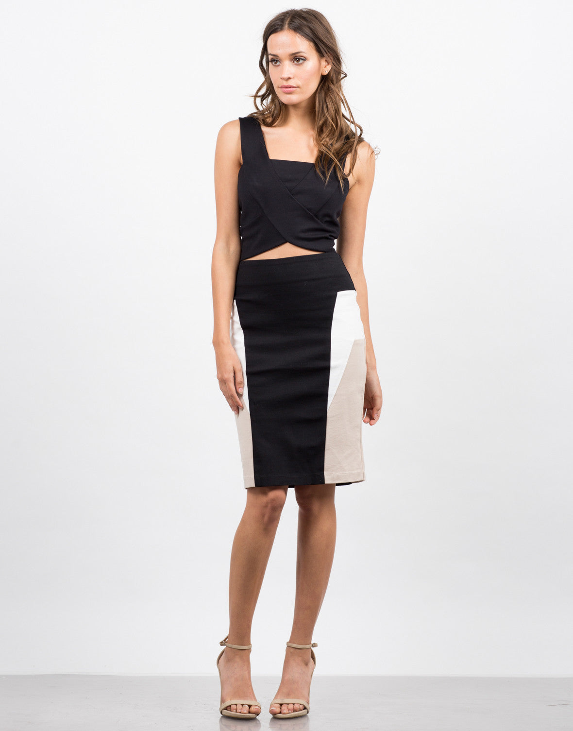 Front View of Color Block Pencil Skirt
