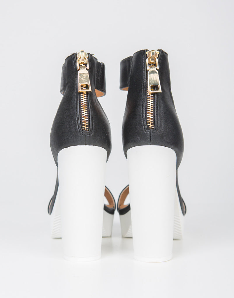 Back View of Color Block Platform Heels