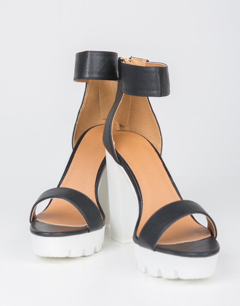 Detail of Color Block Platform Heels