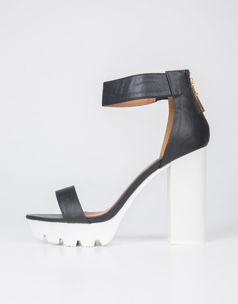 Side View of Color Block Platform Heels