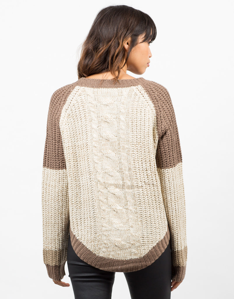 Back View of Color Block Sweater