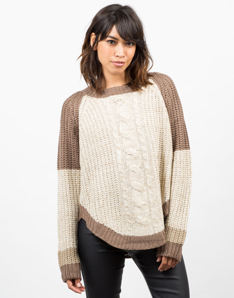 Front View of Color Block Sweater