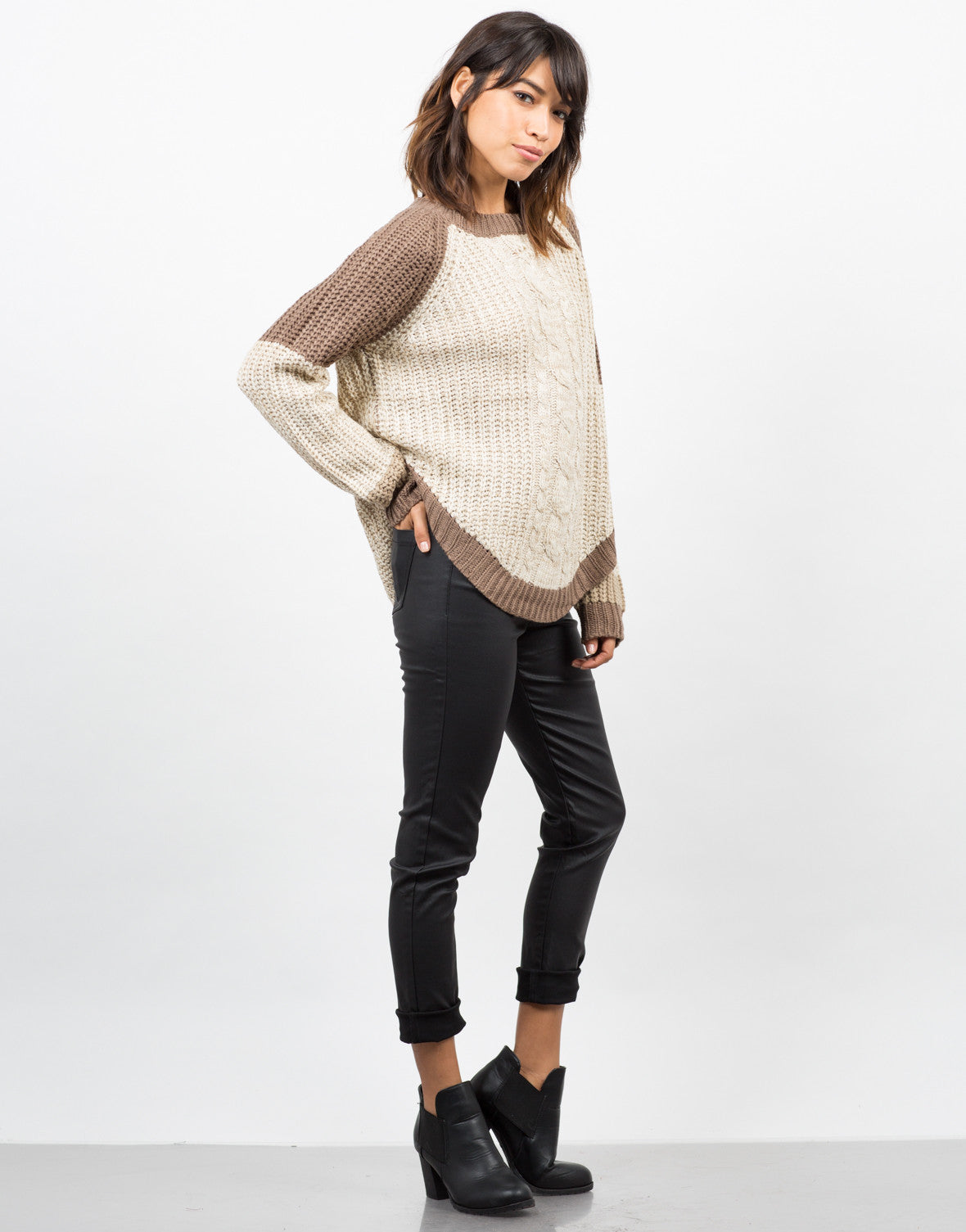 Side View of Color Block Sweater