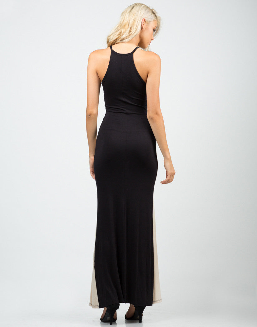 Back View of Color Contrast Maxi Dress