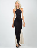 Front View of Color Contrast Maxi Dress