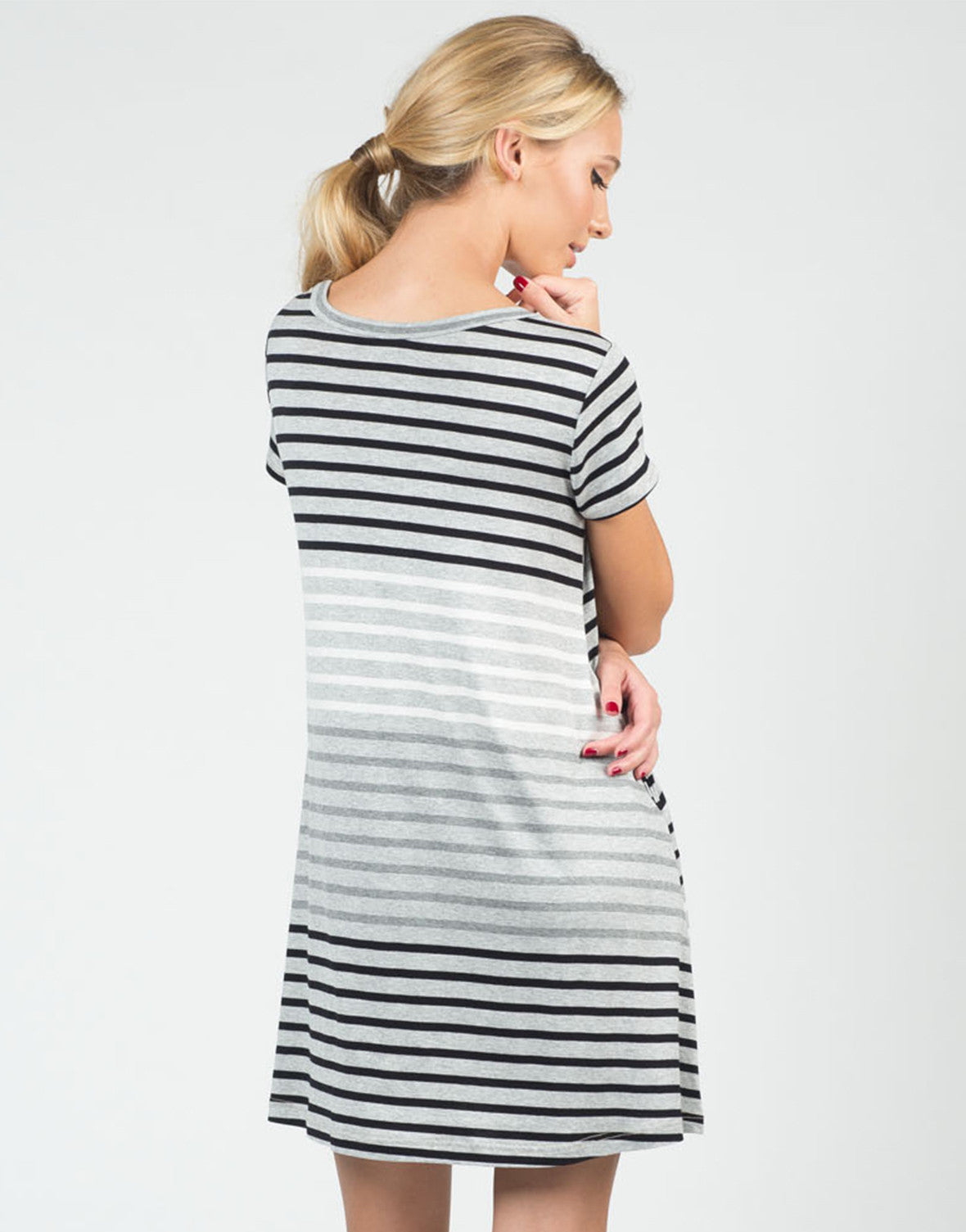Back View of Color Contrast Striped Dress