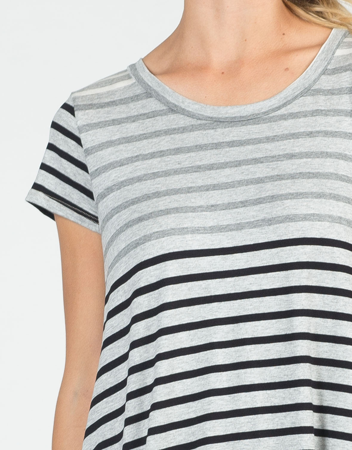 Detail of Color Contrast Striped Dress