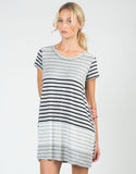 Front View of Color Contrast Striped Dress
