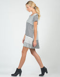 Side View of Color Contrast Striped Dress