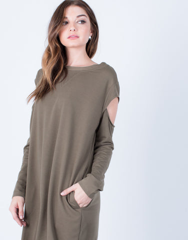 Detail of Comfy Cold Shoulder Dress
