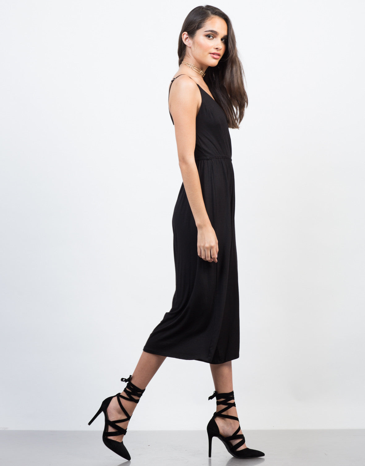 Side View of Comfy Culotte Jumpsuit