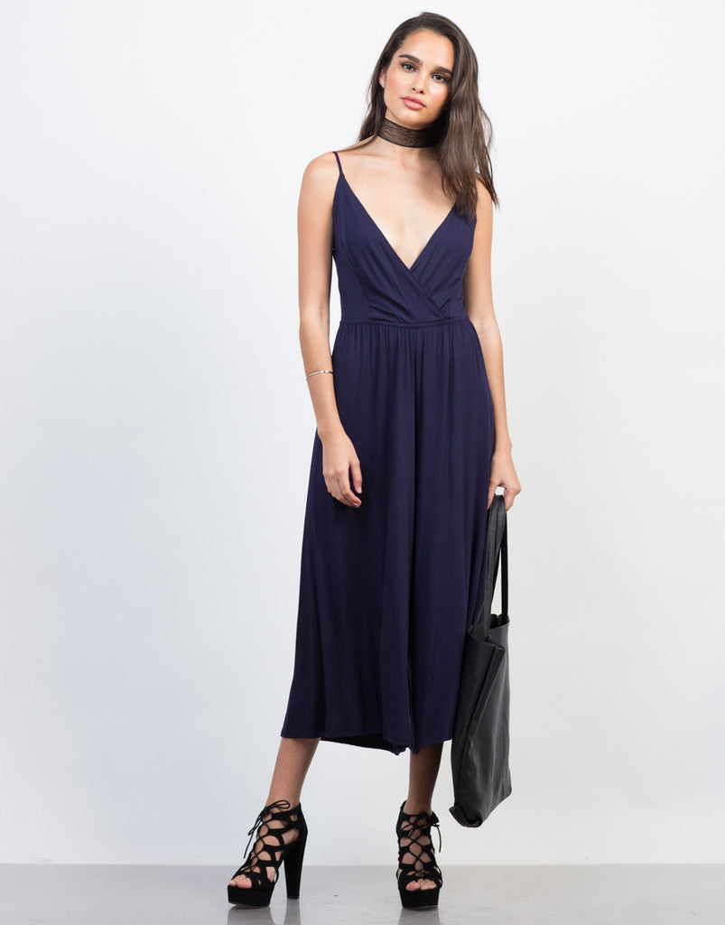 Front View of Comfy Culotte Jumpsuit