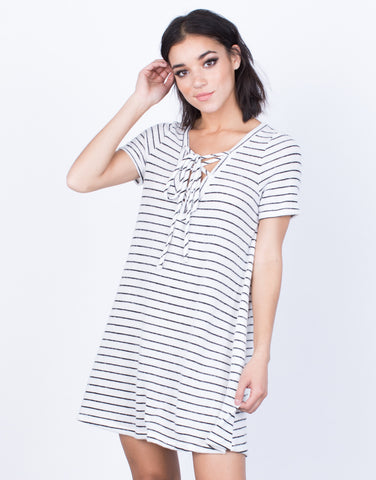 Front View of Comfy Days Striped Dress