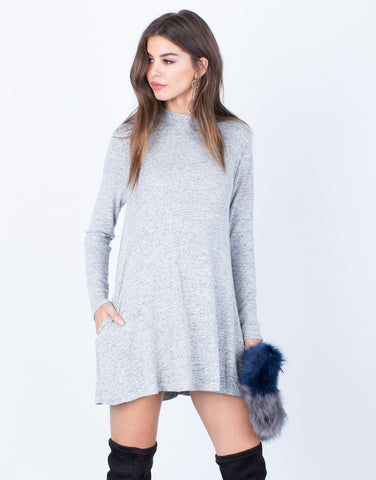 Front View of Comfy Knit Tunic Dress