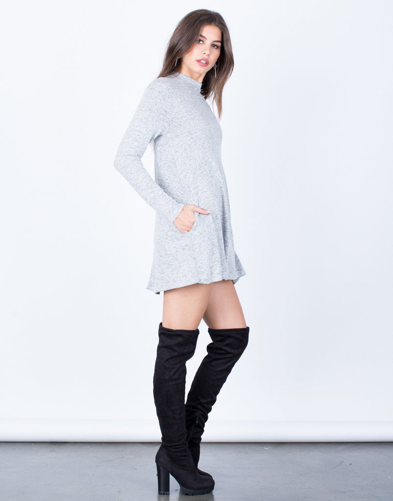 Side View of Comfy Knit Tunic Dress
